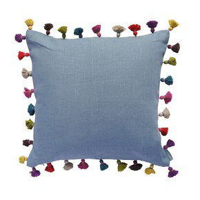 Duck Egg Linen Tassel Cushion