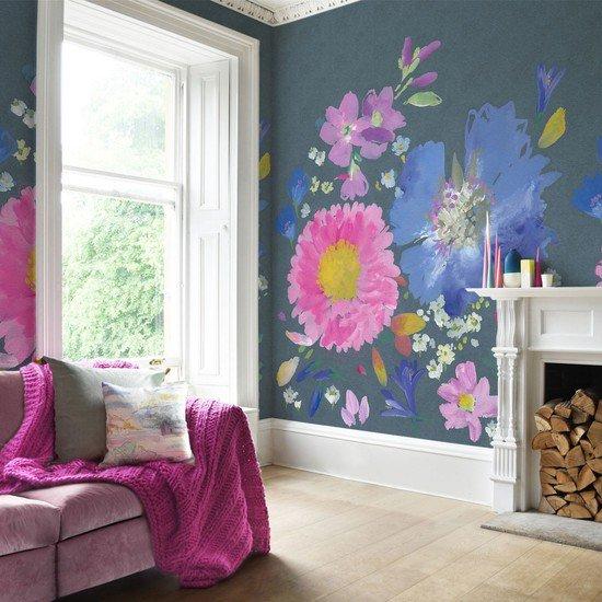 Kippen Mural Wallpaper 12m Multi Colour Textile Eclectic