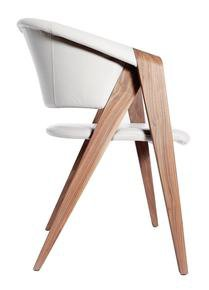 Designer Arm Chair In Walnut - Leather