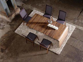 Designer Dining Table With Glass Wall Walnut No Extension