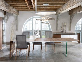 Designer Dining Table With Glass Wall Walnut With Extension