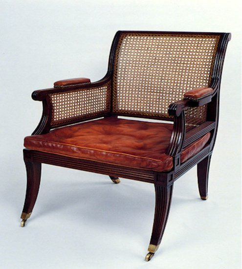 18th century bergere chair in customers own leather arthur brett treniq 1 1539157284357