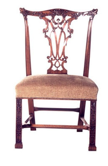 Mahogany carved side chair and x finish in customers own material arthur brett treniq 1 1539164050966