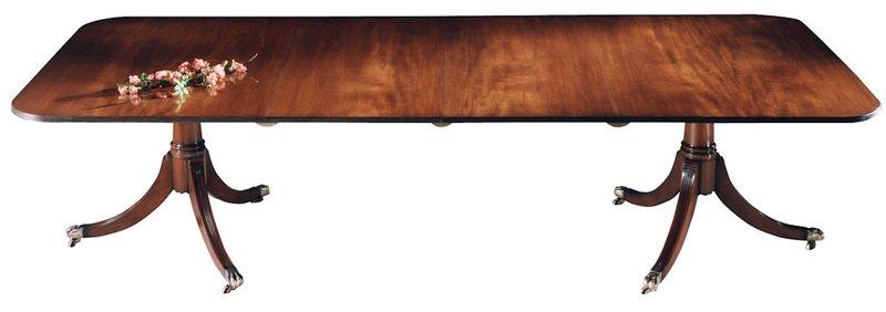 Mahogany dining table with cross banding   2ped 2 leaf arthur brett treniq 1 1539164283830