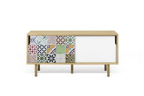 Dann-Tiles-Sideboard-135-W/-Patchwork-Pattern-And-Wooden-Legs_Tema-Home_Treniq_0