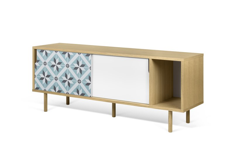 Credenza Dann : Dann tiles sideboard w star pattern and wooden legs