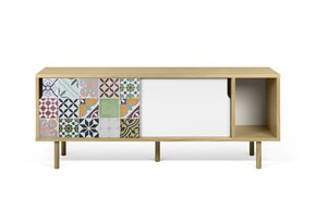 Dann-Tiles-Sideboard-165-W/-Patchwork-Pattern-And-Wooden-Legs_Tema-Home_Treniq_0