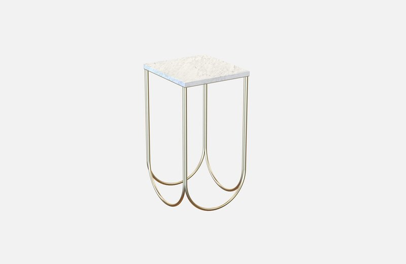 Otto side table brass with white marble miist treniq 3 1540475318754