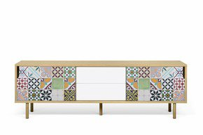 Dann-Tiles-Sideboard-201-W/-Patchwork-Pattern-And-Wooden-Legs_Tema-Home_Treniq_0