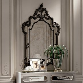 High End Reproduction Black Baroque Mirror