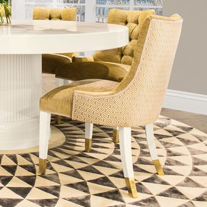High End Modern Italian Upholstered Gold Dining Chair