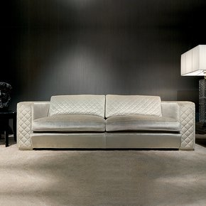 High End Italian Ivory Velvet Sofa