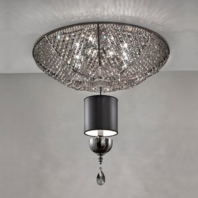 Modern Italian Black Crystal Ceiling Light
