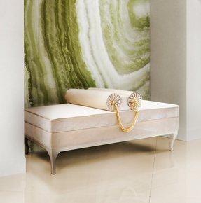 Jewelled Velvet Upholstered Bench