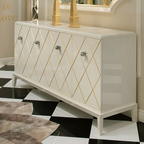 High End Modern Italian Marble Topped Sideboard