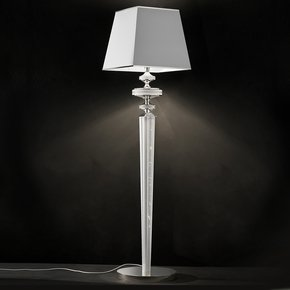 High End Luxurious Leather White Swarovski Floor Lamp