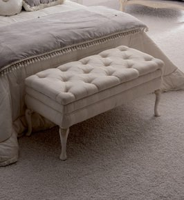 Reproduction Designer Italian Button Upholstered Storage Bench