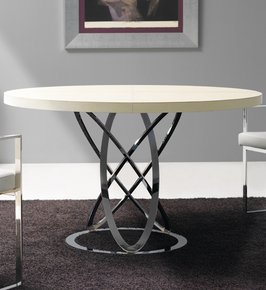 London Collection Modern Leather Round Dining Table