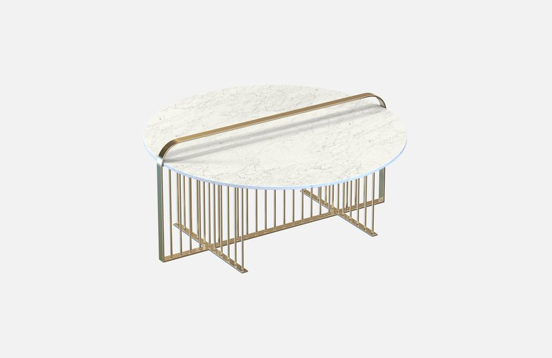 Meister coffee table brass with white marble miist treniq 4 1542898791664
