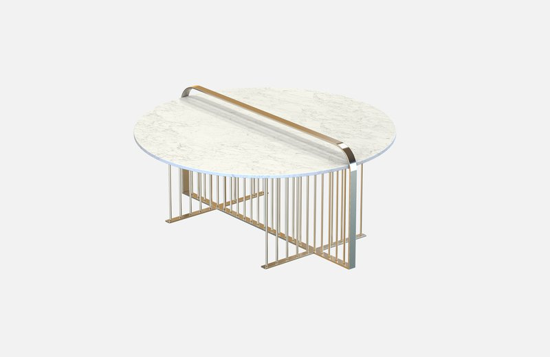 Meister coffee table brass with white marble miist treniq 4 1542898791662