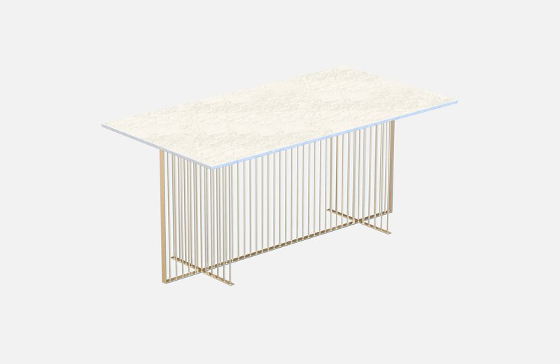 Meister dining table brass with white marble miist treniq 3 1542972277768