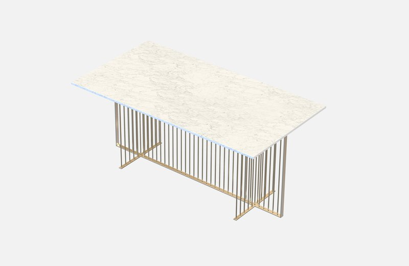 Meister dining table brass with white marble miist treniq 3 1542972277766