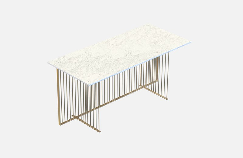 Meister office table brass with white marble miist treniq 1 1542979162074