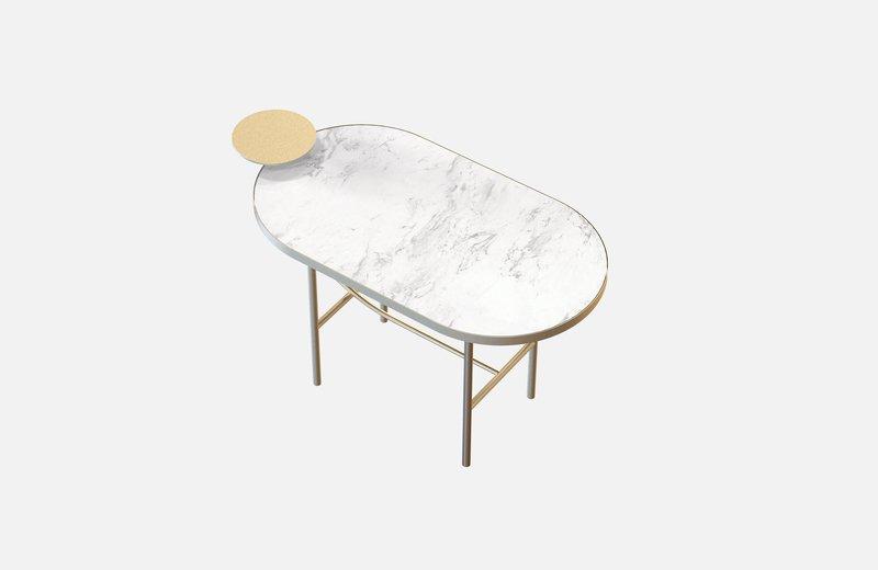 Eva coffee table brass with white marble miist treniq 1 1543141549954