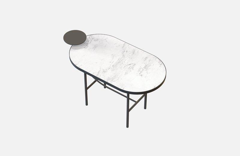 Eva coffee table black with white marble x small miist treniq 1 1543141917282