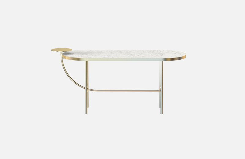 Eva coffee table brass with white marble x large miist treniq 1 1543142430594