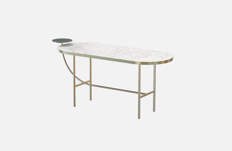 Eva coffee table brass with white marble x large miist treniq 1 1543142430593