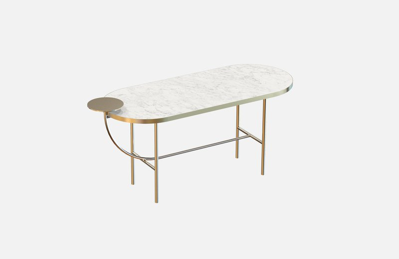 Eva coffee table brass with white marble x large miist treniq 1 1543142430591