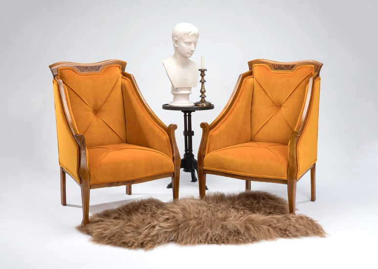 Eclectic pair of antique mahogany   satinwood inlaid chairs rhubarbchairs treniq 1 1545140800616