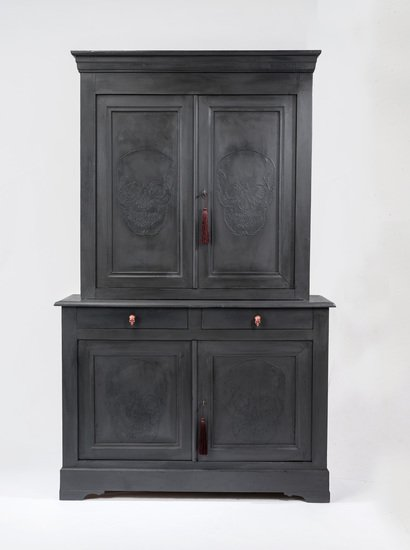 The skull ghost cupboard  antique french elm housekeepers cupboard  rhubarbchairs treniq 1 1545142620956