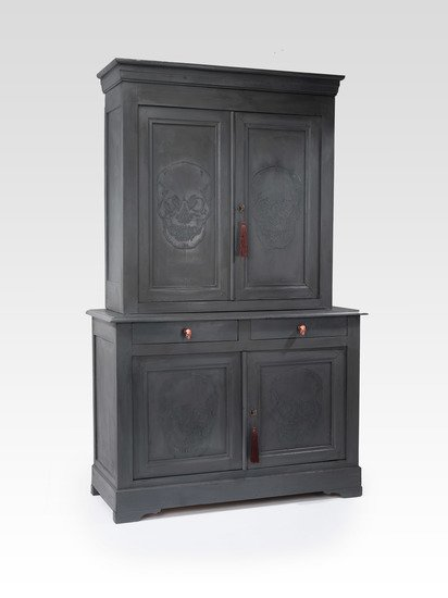 The skull ghost cupboard  antique french elm housekeepers cupboard  rhubarbchairs treniq 1 1545142639832
