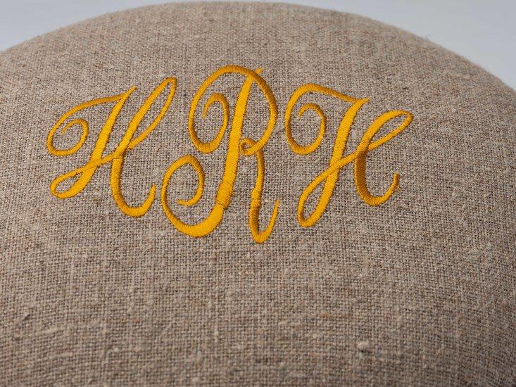The gold 'h.r.h' monogrammed victorian piano stool. rhubarbchairs treniq 1 1545419344327