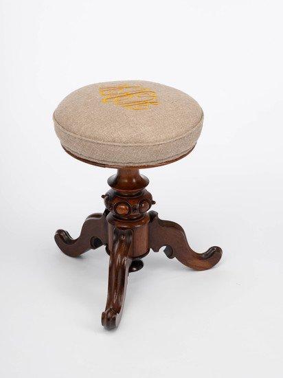 The gold 'h.r.h' monogrammed victorian piano stool. rhubarbchairs treniq 1 1545419339421