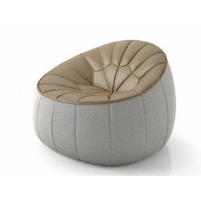 Ottoman Swivellling Armchair Brown Grey