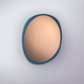 Fade Mirror - Petrol Blue Frame - Peach Mirror