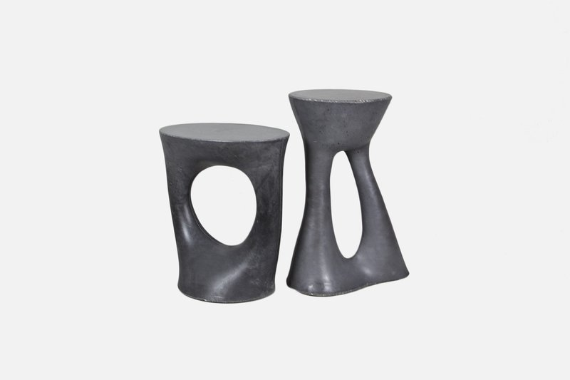 Kreten side table pair of charcoal 1 short  1 tall1