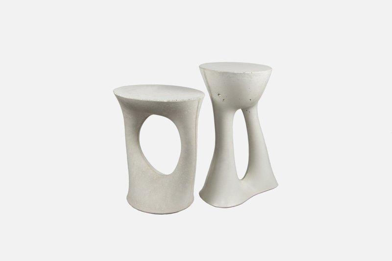 Kreten side table pair of charcoal 1 short  1 tall white