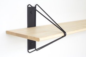 Strut Shelving - Black  52 Natural Maple