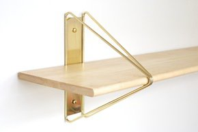 Strut Shelving - Brass  84 Natural Maple
