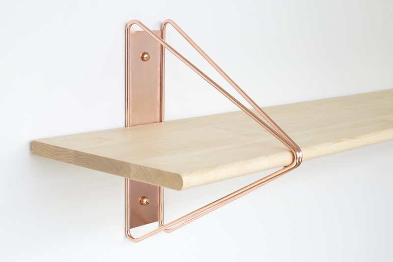 Strut shelving bracket copper