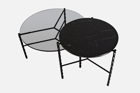 Von Iron Medium Coffee Table - Black - Black Glass