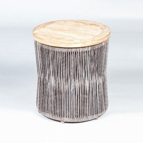 Loom Teak Side Table Covered - Seven Oceans Designs - Treniq
