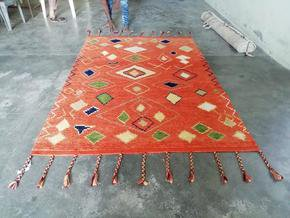 Husaini's Hand Knotted Orange Morrocan Carpet