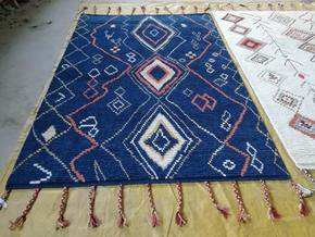 Husaini's Hand Knotted Blue Morrocan Carpet