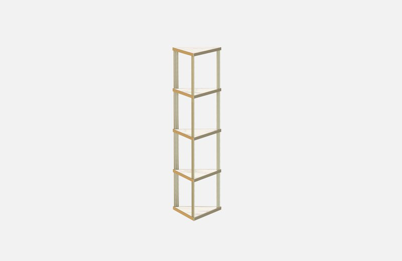 Trecento bookcase brass with white marble miist treniq 1 1549269140414