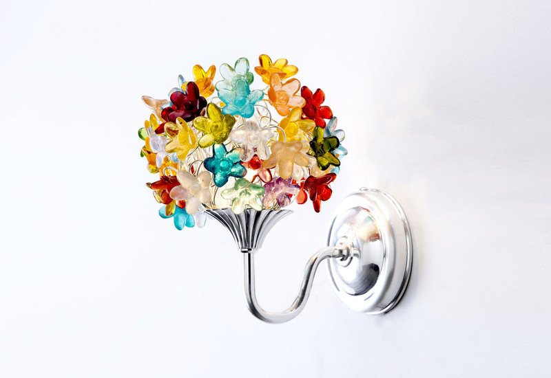 Colourful flowers bouquet wall lamp aya and john treniq 2